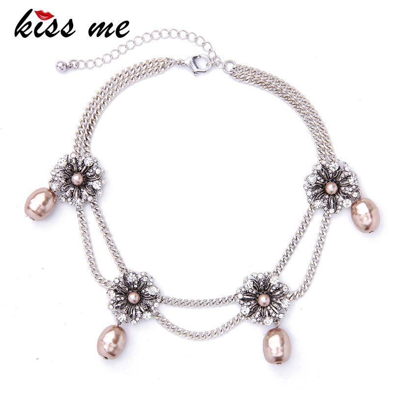 Embrassez-moi nouvelles chaînes doubles cristal fleurs collier ras du cou simulé perles pendentifs bijoux saint valentin cadeau