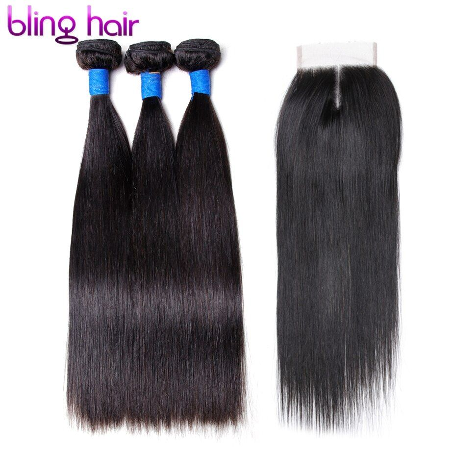 Blinghair Indian Straight 3 Bundles With Closure Remy Hair Extensions human hair bundles with closure For black women free ship