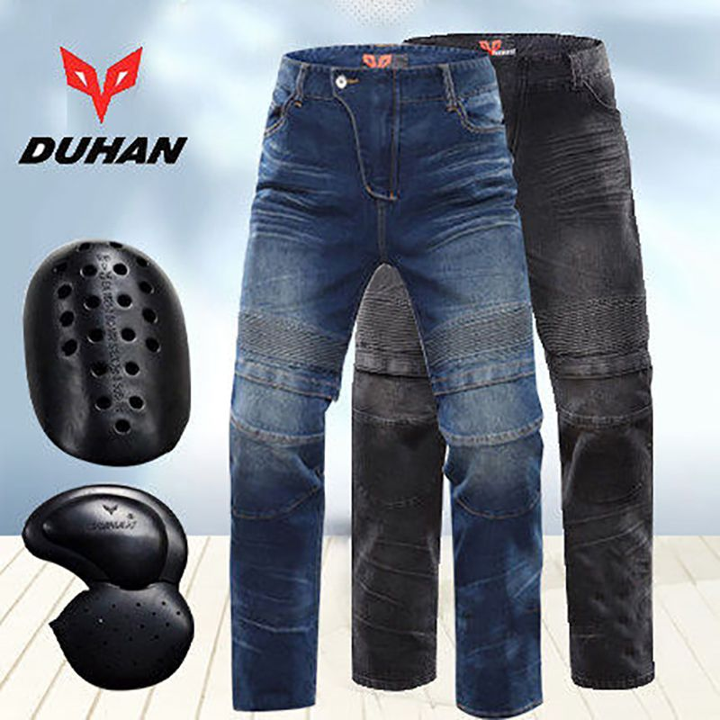 Motorcycle Jeans DUHAN pants Knee guards Motocross jean protection Pants Drop Resistant Denim Motorcycle Jeans
