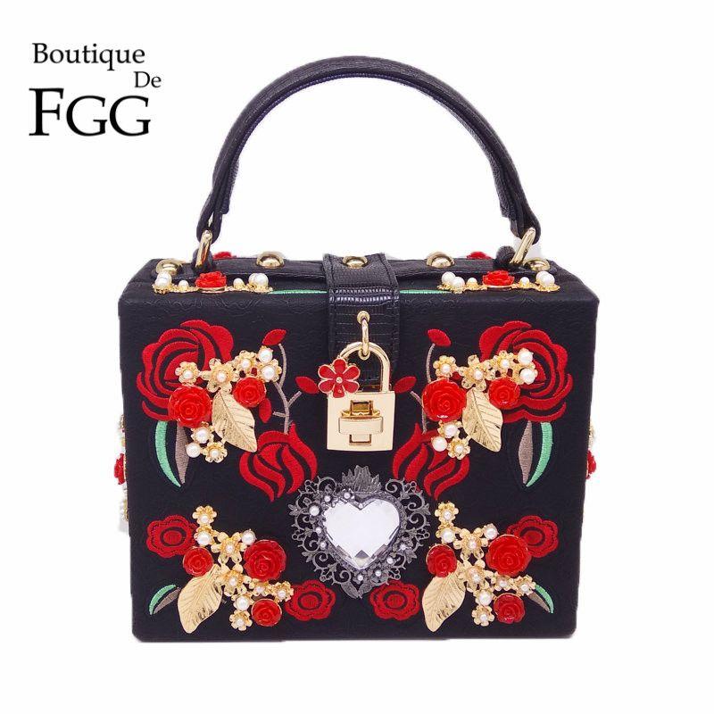 PU Broderie Rouge Rose Fleur Perlée Mode Femmes Épaule Sacs À Main Messenger Bandoulière Sacs de Soirée Totes Sac Box Clutch Purse