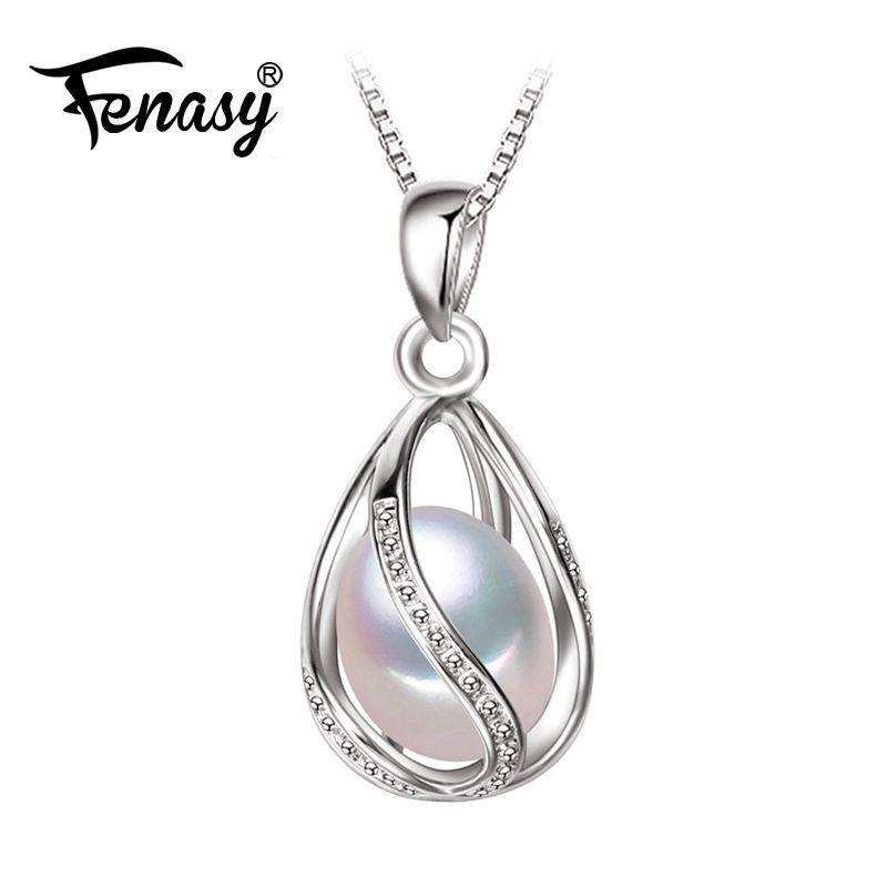 Fenasy perle bijoux, 100% naturel perle pendentif collier, style de mode naturel d'eau douce perle argent collier pendentif, cadeau boîte
