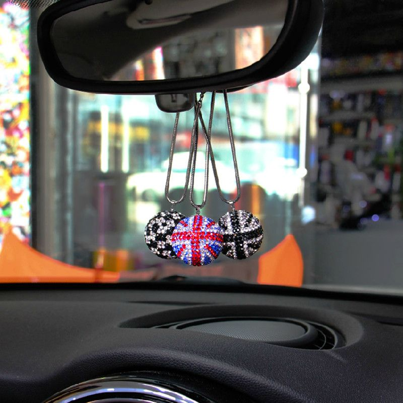 car Ornaments Crystal red black union jack Checkered hanging interior accessories