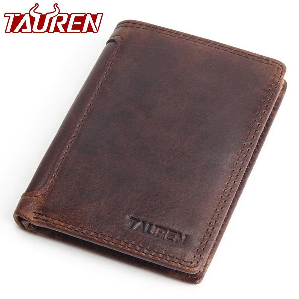 Vintage Designer 100% <font><b>Genuine</b></font> Carteiras Masculinas Cowhide Leather Men Short Wallet Purse Card Holder Coin Pocket Male Wallets