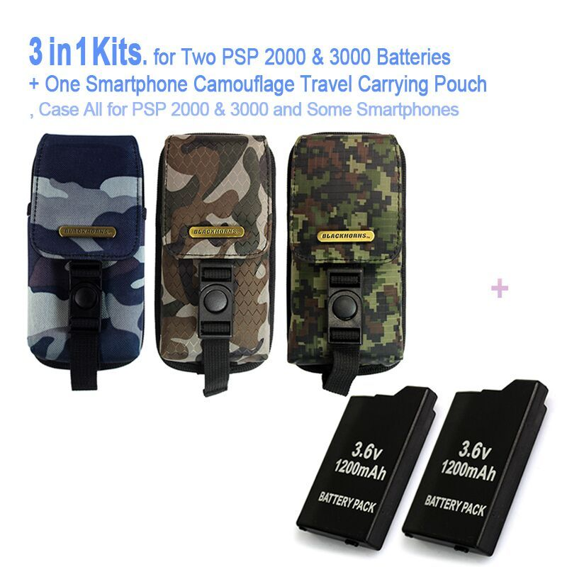 Game accessories for Two PSP Batteries + One PSP Camouflage Travel Carrying Pouch, Case Bag For All SONY PSP-2000,3000