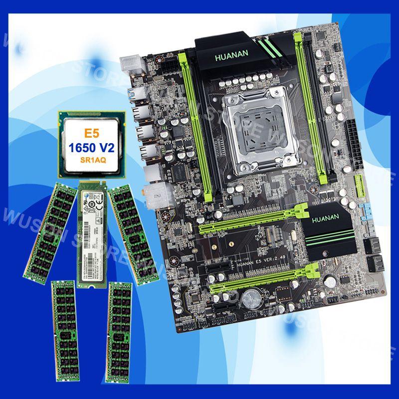 Marke HUANAN ZHI rabatt X79 motherboard mit CPU Xeon E5 1650 V2 SR1AQ 3,5 GHz RAM 32G (4 * 8G) DDR3 1600 RECC M.2 256G NVME SSD