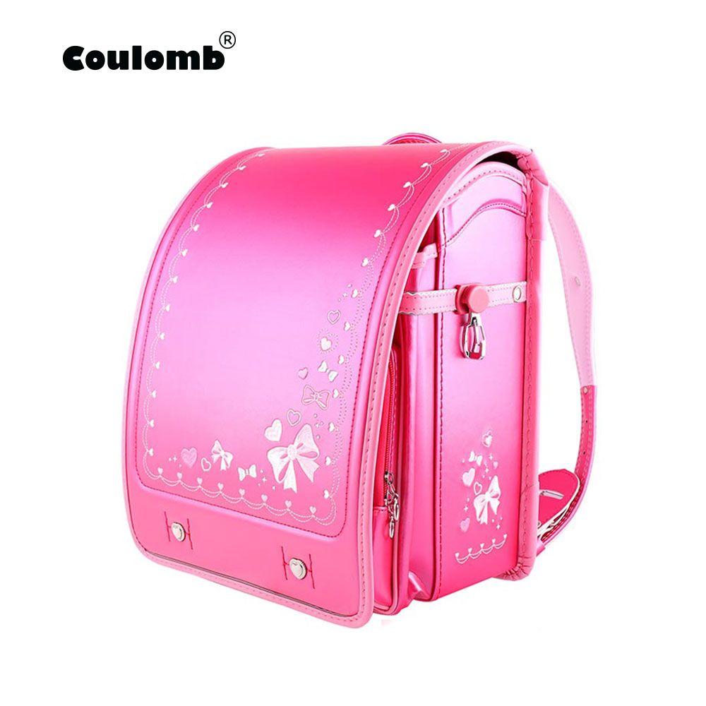 Coulomb Kinder Schule Tasche Für Mädchen Kid Orthopädische Rucksack Für Schule Studenten Bookbags Japan PU Schulranzen Baby Taschen Neue