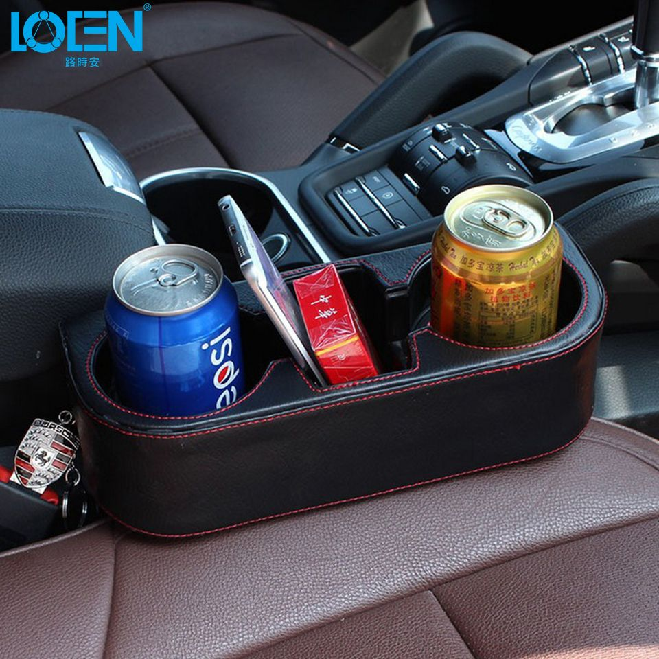 LOEN Box PU leather Portable Car seat gap Cup Drink Holder box for hyundai chevrolet 0 bmw kia honda toyota all cars