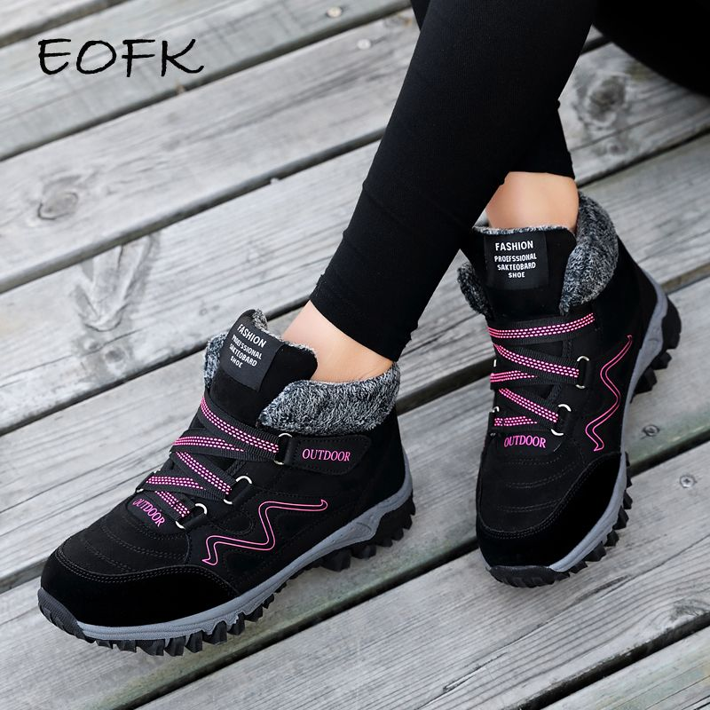 EOFK Winter Women Boots Woman Lady Genuine Leather Warm Flat Platform Fur Waterproof Snow Sneakers Plush Fashion Casual Boots