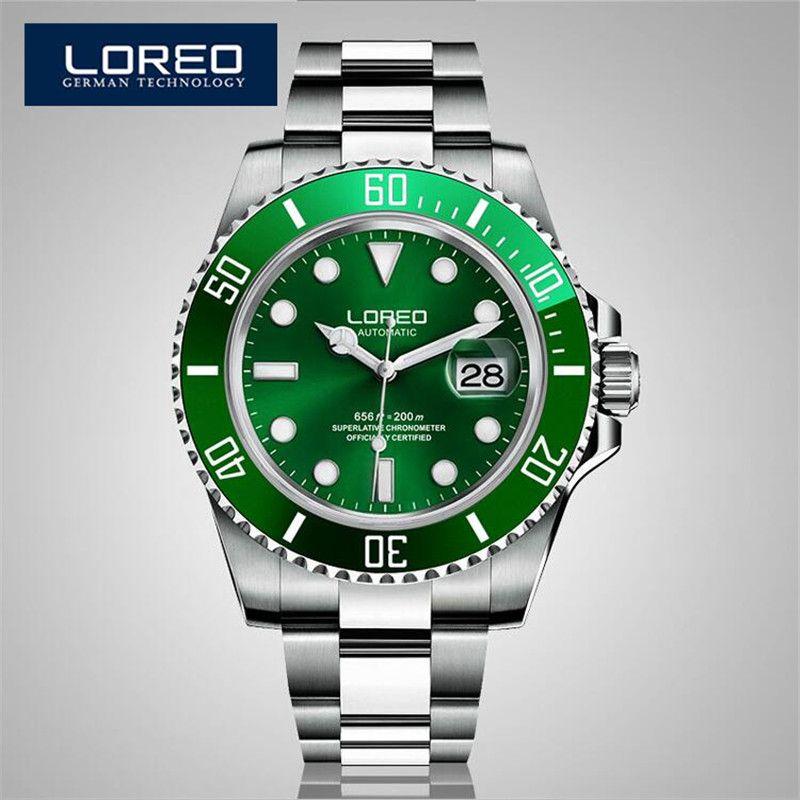 Loreo сапфир автоматические механический хронограф Для мужчин Нержавеющаясталь 200 м Водонепроницаемый Diver часы Relógio мужской ab2033