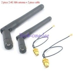 4 unids/lote 2,4 GHz 3dBi WiFi 2,4g antena RP-SMA Masculino + 17 cm PCI U. FL IPX a RP SMA macho Pigtail Cable
