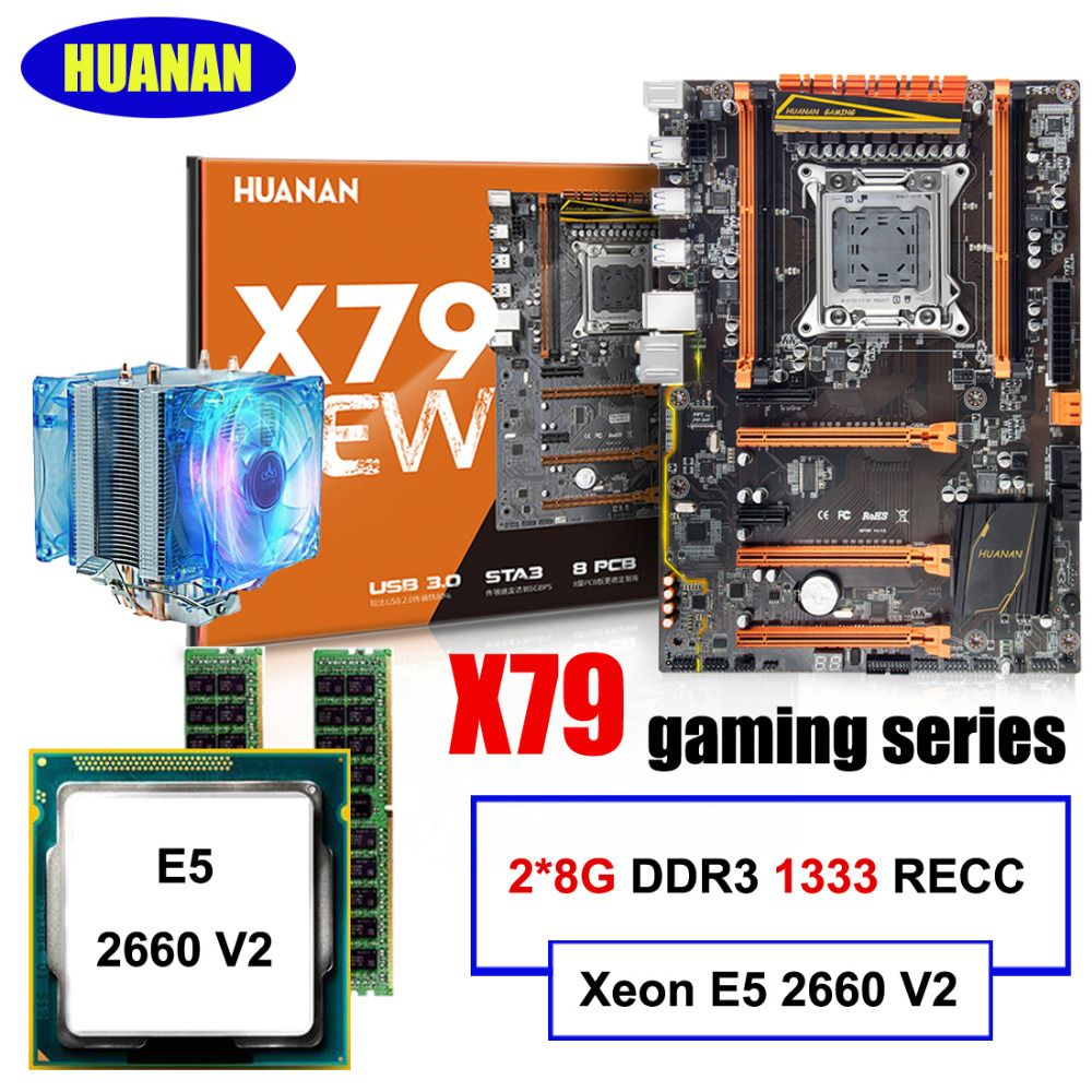 Best seller Brand HUANAN deluxe X79 gaming motherboard Xeon E5 2660 V2 with CPU cooler RAM 16G(2*8G) DDR3 RECC all good tested