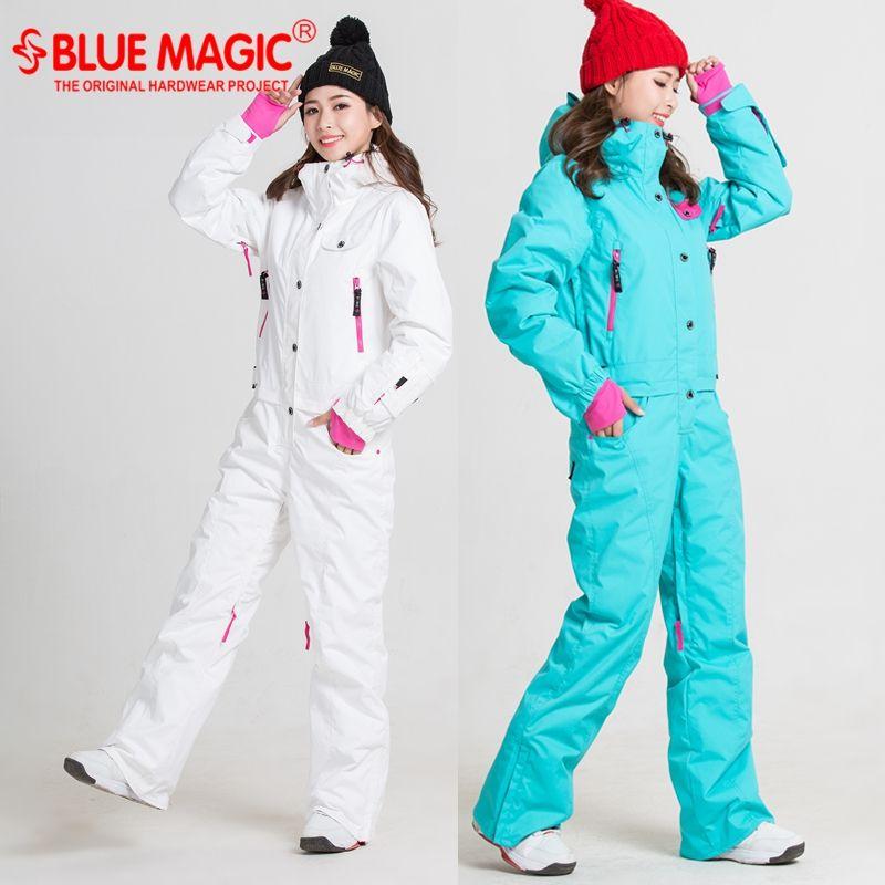Blue magic new winter snow ski suits one piece ski jumpsuit women snowboard jacket skiing pant sets waterproof bodysuits Russia