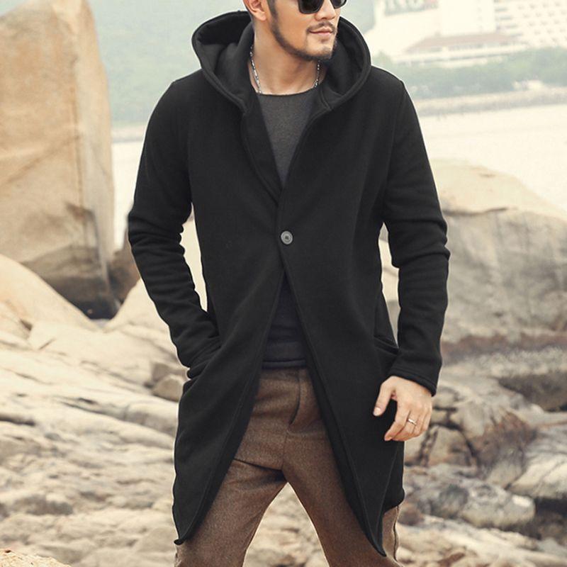Autumn winter long stretch cotton fleece 2017 men coat men slim casual fashion thick black cardigan with hat men European style