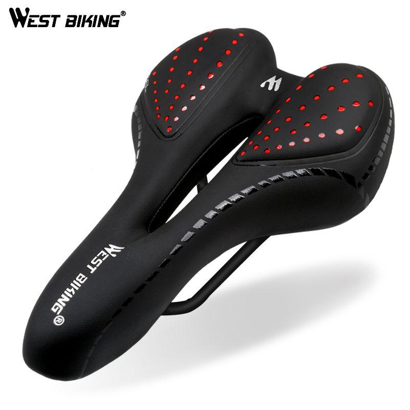 Selle de vélo de vélo ouest coussin en Silicone Surface en cuir PU Gel rempli de silice siège de vélo confortable selle de vélo antichoc