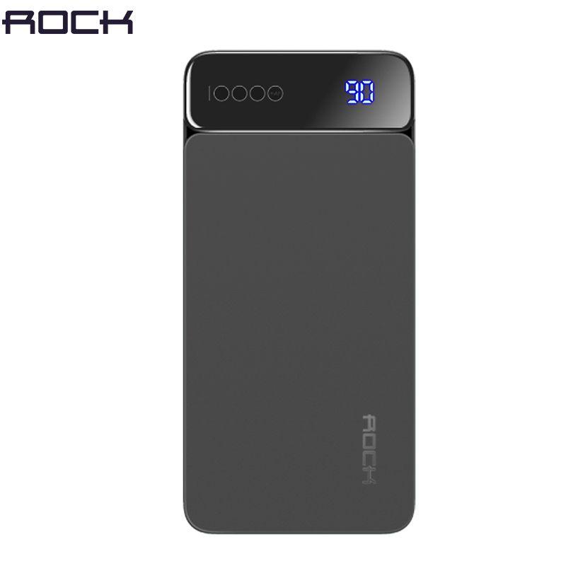 Digital Display LCD Power Bank for Xiaomi Mi, ROCK Portable 10000mah Power Bank Phone External Battery Powerbank 10000 mah