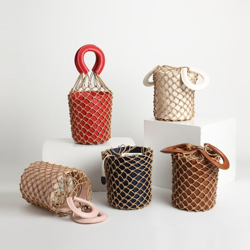 Spring / Autumn 2019 Custom Net Bag Ins Woven Bag with Bucket Handbag