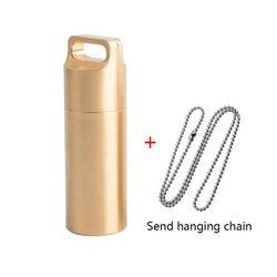 Baru EDC Luar Ruangan Survival H62 Kuningan Botol Pil Kotak Tahan Air Kapsul Segel Portable Bonus 69 Cm Rantai