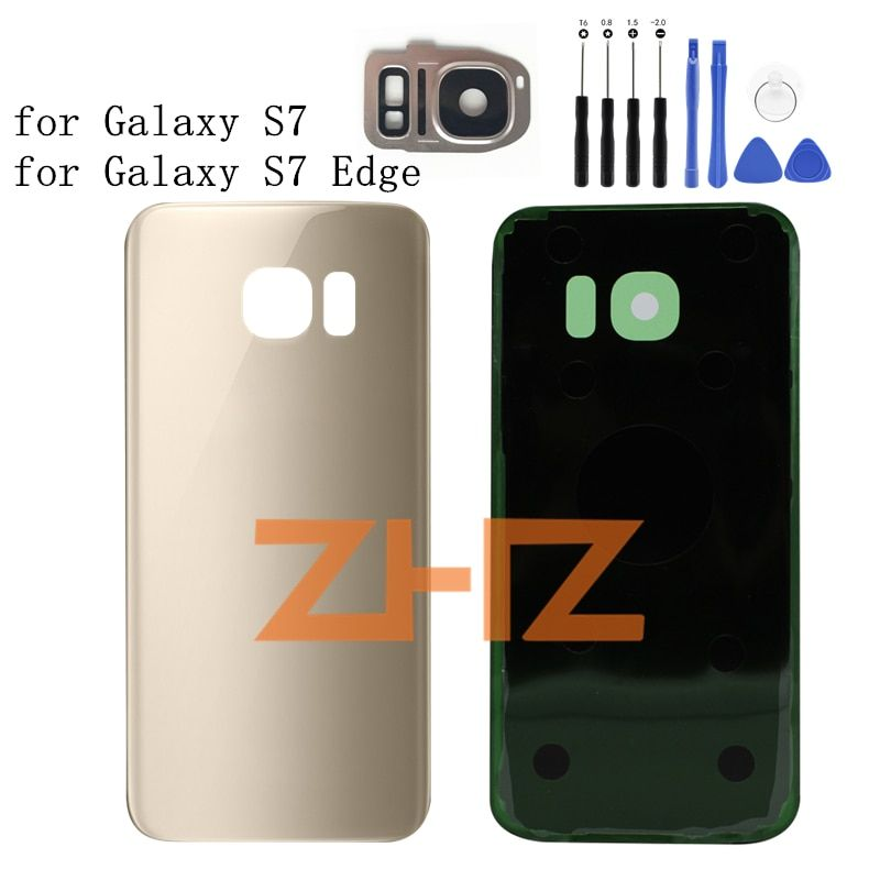 For SAMSUNG Galaxy S7 G930/ S7 EDGE G935 Battery Back Cover Door Rear Glass Housing Case Battery Cover +Camera Glass Lens Frame
