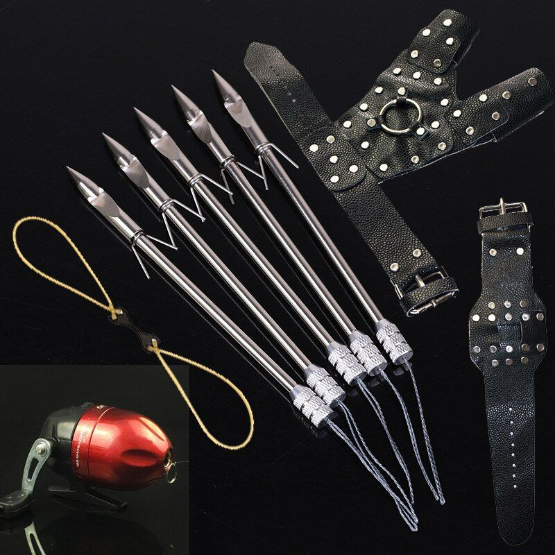 Outdoor Fishing Sports <font><b>Fish</b></font> Hunting DIY Slingshot Catapult Wristband Hand Guard Rubber Band Reel Sling Shot Bow Set