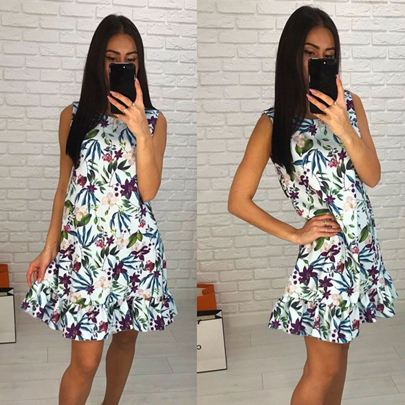 GUMPRUN Sexy Women Casual Short Dresses O Neck sleeveless Floral Print Dress 2018 Casual Female Boho Summer Mini Dress vestidos