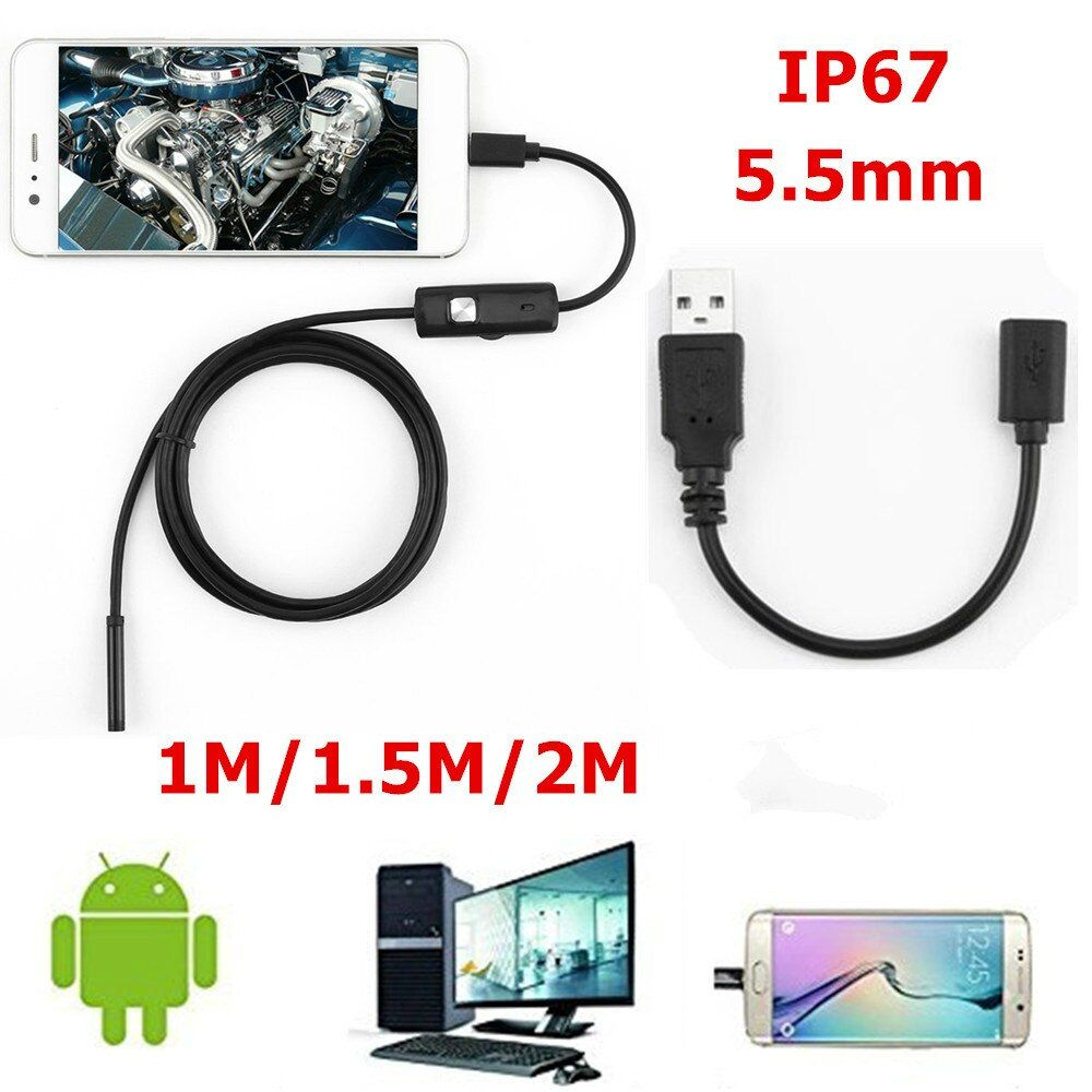 7mm 5.5mm Endoscope Camera HD USB Endoscope With 6 LED 1/1.5/2M Soft Cable Waterproof Inspection Borescope for Android PC