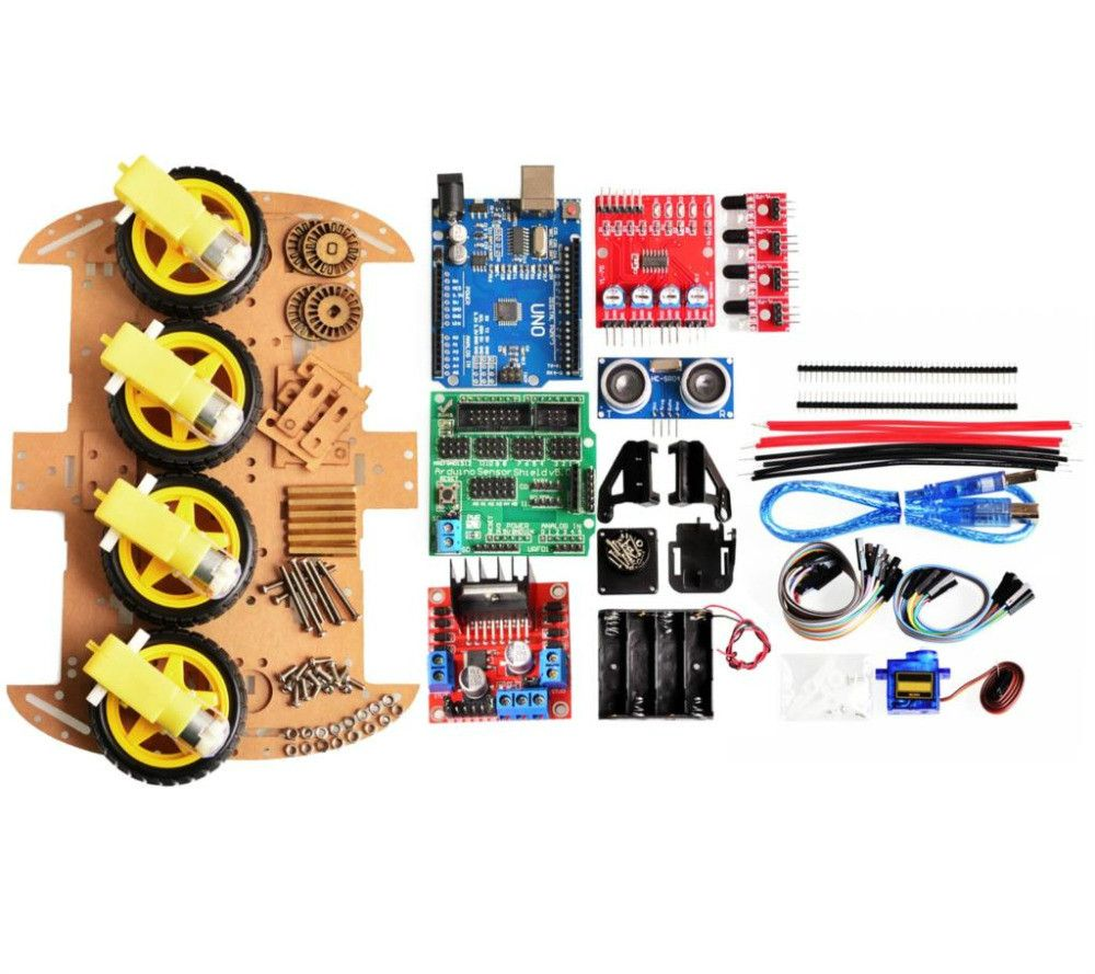 New Avoidance tracking Motor Smart Robot Car Chassis Kit Speed Encoder Battery Box 4WD Ultrasonic module For arduino kit