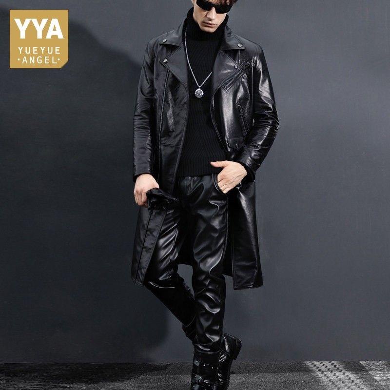 Echtem Leder Graben Mantel Männer Slim Fit Schwarz Motorrad Jacke Winter Neue Windjacke Kuh Leder Lange Jacken Plus Größe 5XL