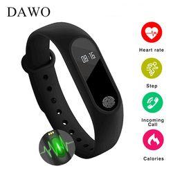 DAWO Fitness pulsera actividad Tracker IP67 impermeable ritmo cardíaco Monitor de sueño pulsera inteligente podómetro PK K1 F1 miband 2