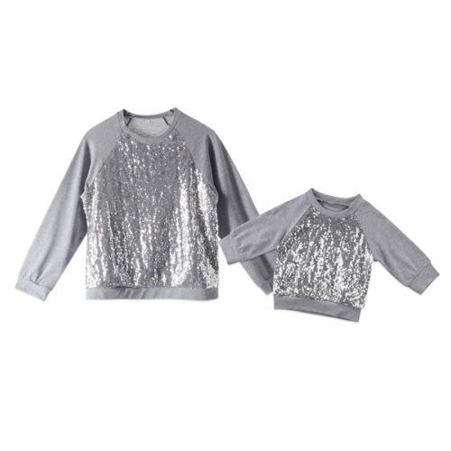 Для женщин новорожденных для маленьких девочек Костюмы Топы корректирующие блесток длинным рукавом теплые футболки Толстовки одежда для м...