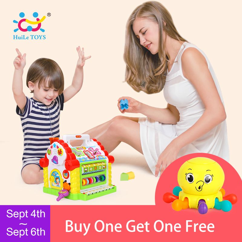 HUILE TOYS 739 Multifunctional Musical Toys Baby Fun House Musical <font><b>Electronic</b></font> Geometric Blocks Sorting Learning Educational Toys