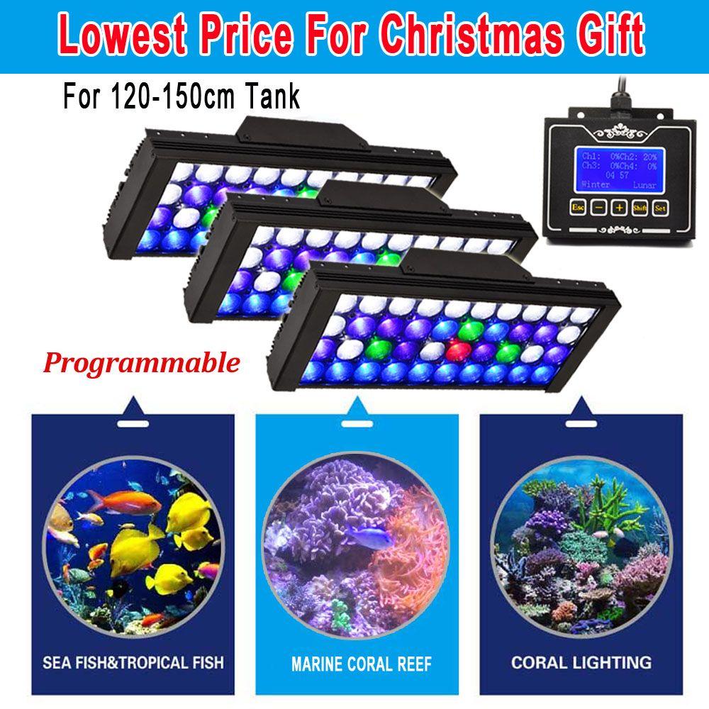 3 PCS DSunY Aqua 165W Dimmable Programmable LED Full Spectrum Grow Fish Tank Reef Coral Aquarium Light Sunrise Sunset
