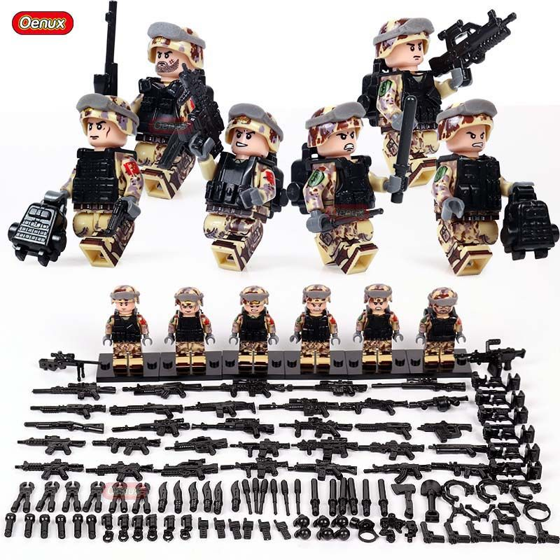 Oenux 6pcs/set Military Camouflage Army Soldiers Building Block SWAT Police Special Forces Figures Brick MOC Toy For Kids Gifts