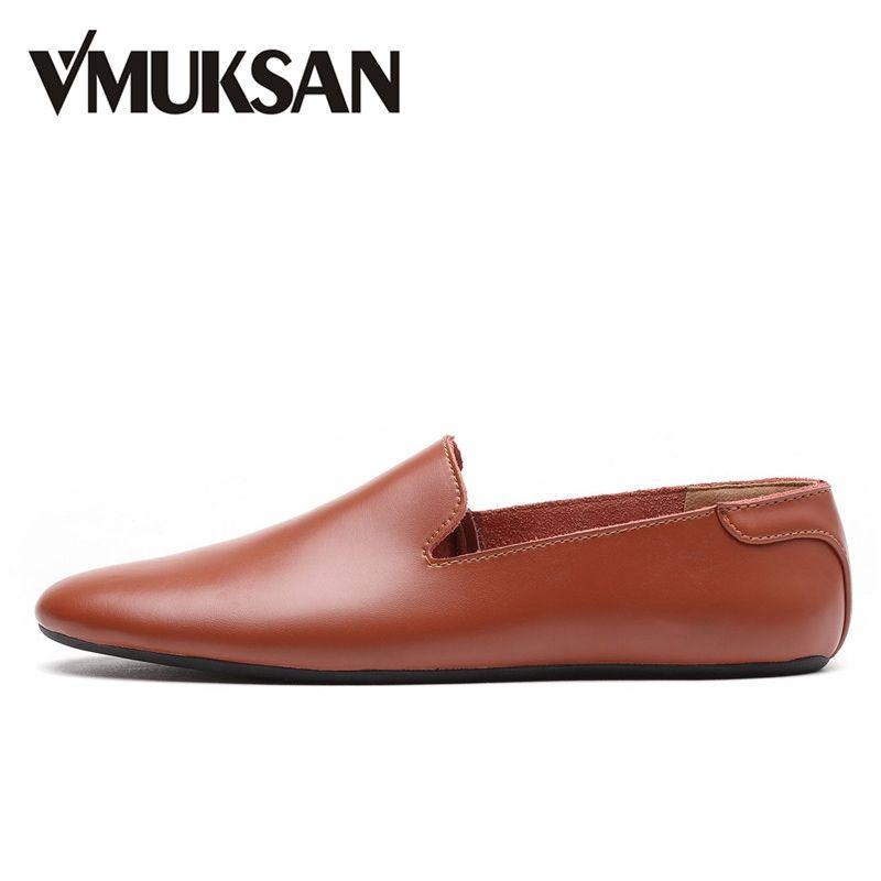 VMUKSAN Высокое качество Кожа обувь мужская Без задника мода лоферы мужская 2017 Производитель дизайнер макасины мужские