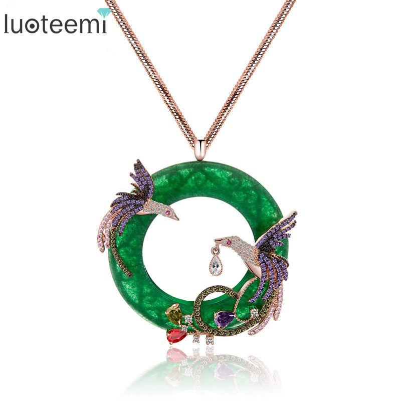 LUOTEEMI New Design Atmosphere Elegant Big Round CZ Pendant with Mirco <font><b>2pcs</b></font> Multi Phoenix Zircon Jewelry Rose&White Gold Color