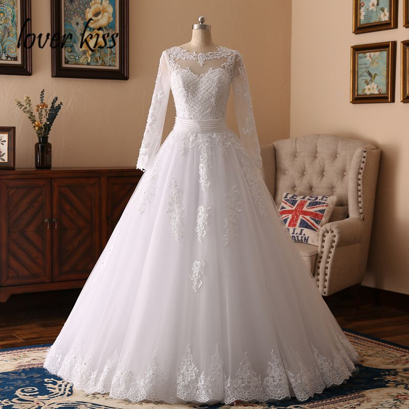 Lover Kiss 2 Pieces Bride Ball Gown Long Sleeves Wedding Dresses 2017 Pearls Tulle Lace Vestido de Noiva Casamento Mariage Boda