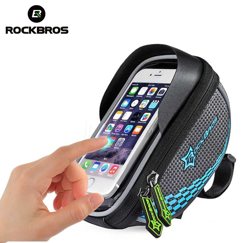 ROCKBROS Bike Frame <font><b>Front</b></font> Tube Bag Cycling Riding Bag Pannier Smartphone GPS Touch Screen Case Bike Bicycle Accessories 4 Colors