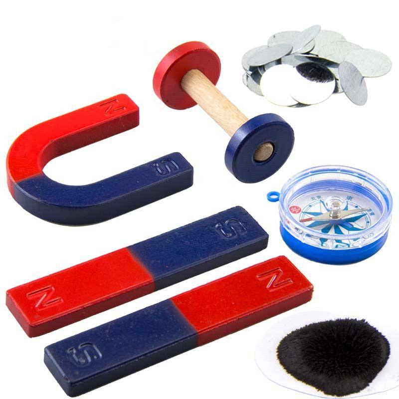 1 Kit d'aimant pour les outils d'expérimentation scientifique de l'éducation barre d'icluding/anneau/fer à cheval/aimants de boussole
