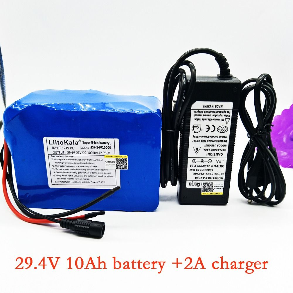 Liitokala 7s5p New victory 24V (29.4V) 10Ah lithium battery electric bicycle 18650/24 VLi ion battery + 29.4V2A charge
