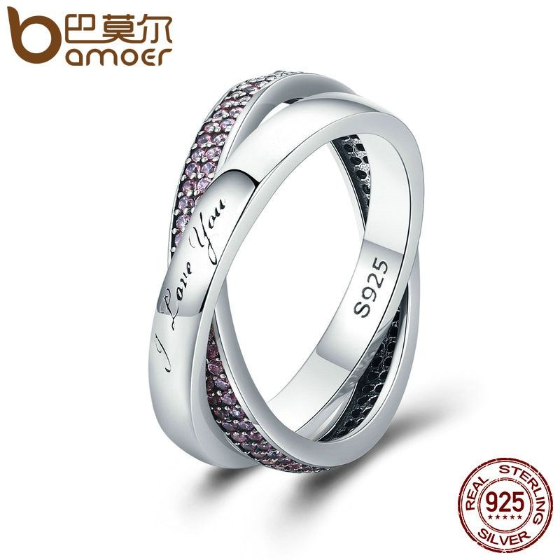 BAMOER 100% Authentic 925 Sterling Silver Sweet Promise Ring, Pink CZ Female Finger Ring for Women Wedding Jewelry PA7650