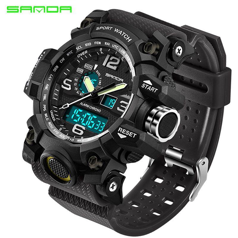 SANDA <font><b>Military</b></font> Sport Watch Men Top Brand Luxury Famous Electronic LED Digital Wrist Watches For Men Male Clock Relogio Masculino
