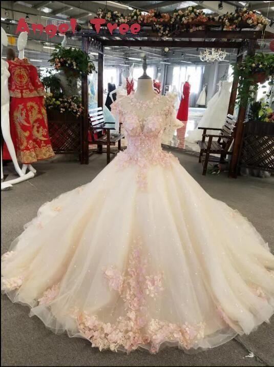 Ángel Del Árbol 2017 Ventas Calientes Por Encargo Flores O-cuello Sleevesless Appliques Una Línea de vestido de Novia Vestido de Novia Vestido De Noiva