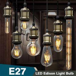 Lâmpada de Filamento de Lâmpada Retro Edison Lâmpada LED E27 E14 Bulbo De Vidro Ampolas Decorativas Lampada LED Gloeilamp Vela Lâmpada Do Vintage