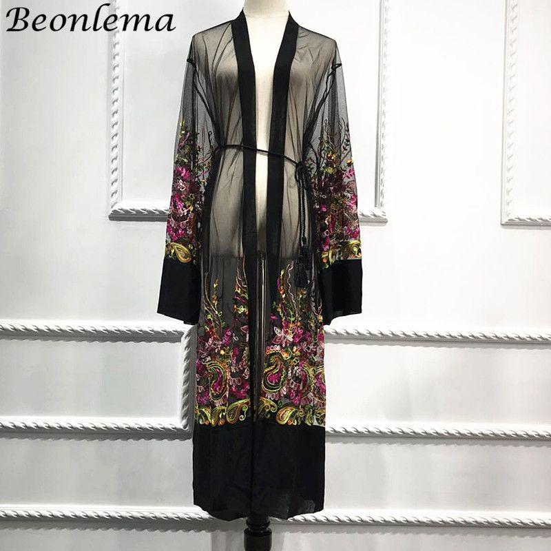 Beonlema Mesh Black Open Abaya Long Robe Women Summer Vestidos Embroidery Muslim Caftan Turkey Clothing Ladies Fashion Khimar