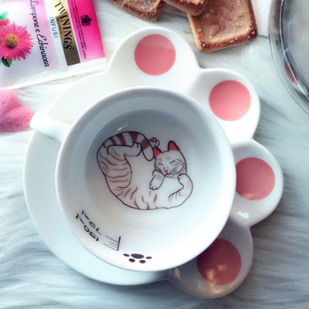 150 ml mignon chat dessin animé tasse ensemble créatif catlike lait petit déjeuner tasse en céramique tasses et assiettes tasse à café résistant à la chaleur tasse cadeau