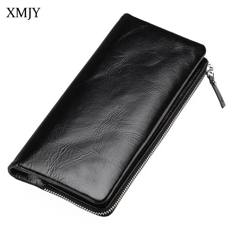 XMJY Genuine Leather Wallets Vintage Classic Style Men's Wallet Long Purse Zipper&Hasp Clutch Wallets With Photo Card Holder