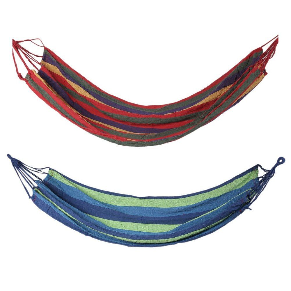 Outdoor Portable Hammock Home Garden Travel Sports Camping Canvas Stripe Hang Swing Single Bed Hammock Red/Blue 280*80cm 200kgs