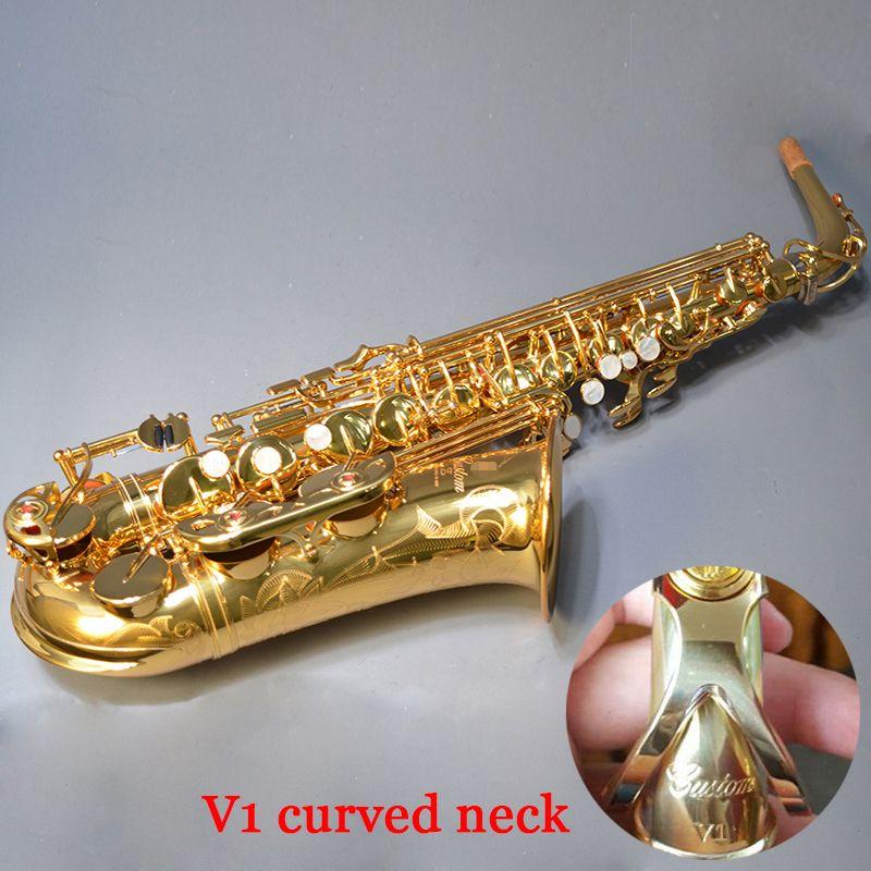 Hohe qualität saxophon alto 82Z Eb flache V1 gebogene hals gold Sax alto Goldene Professionelle musical instrument grade mundstück