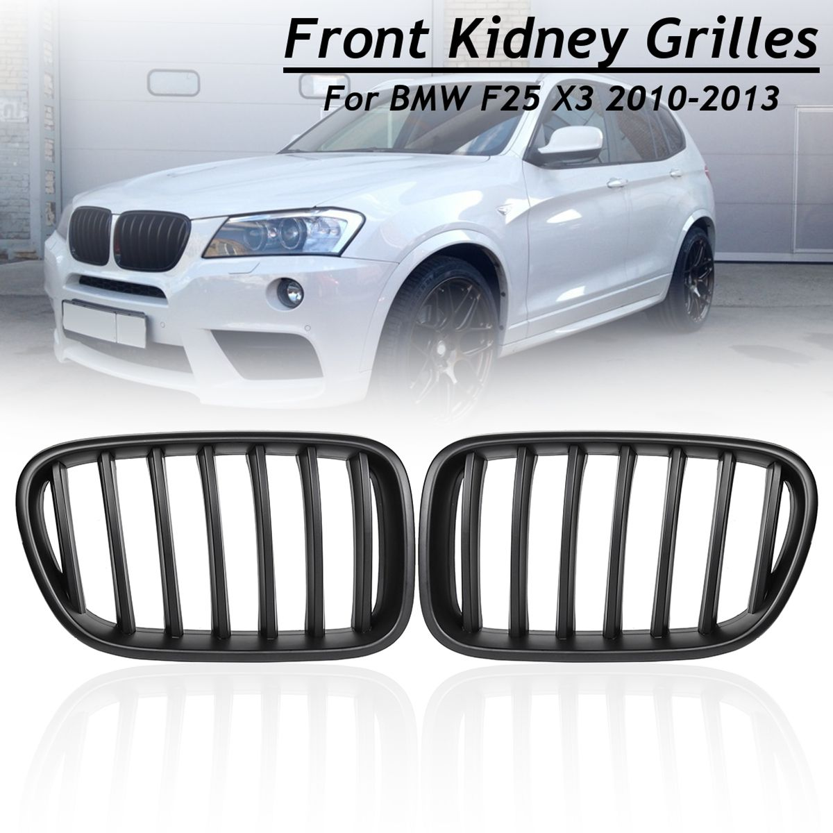 1 Pair Matte Black ABS Front Bumper Kidney Grilles for BMW F25 X3 2010 2011 2012 2013 Racing Grill