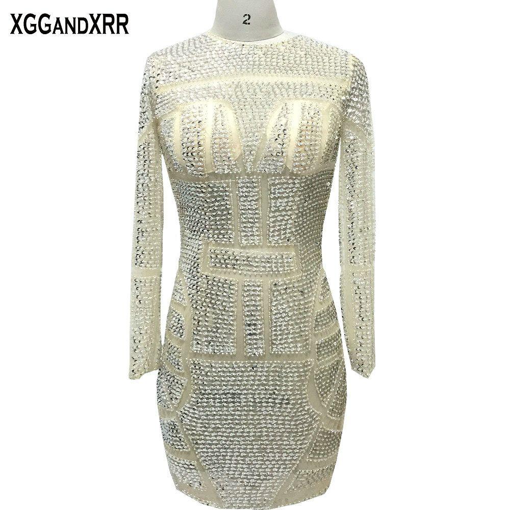 Kylie Jenner sexy manga larga de cristal mini celebridad Vestidos 2018 moda corto Vestidos de baile espalda abierta partido Vestidos m1339