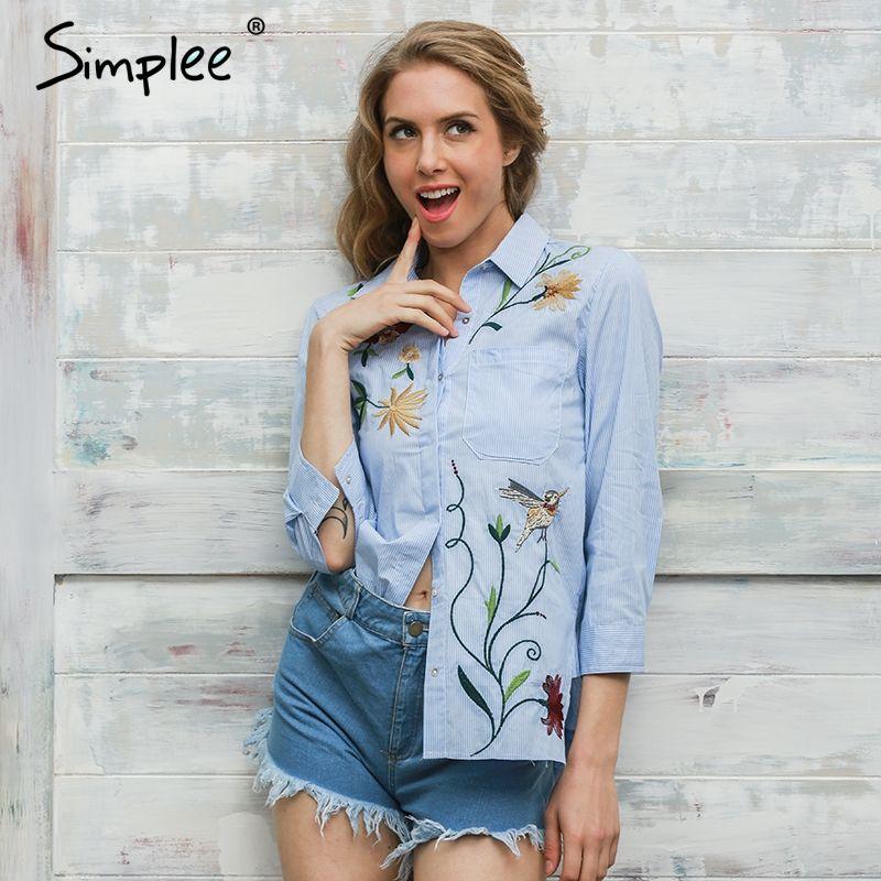 Simplee Вышивка блуза с длинным рукавом рубашка женские топы 2017 элегантный синий полосатый цветок женственная блузка сорочка Femme blusas